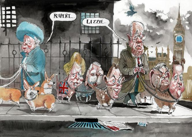 "This cartoon depicts owner of News Corp with respect to corporate power, media power and politicians. English politicians like Australian are shamelessly courting the media mogul and doing him favours as they forget the need for increased media regulation, more competition and less concentrated media ownership. The relationship between media and politicians was described by Murdoch at the Leveson Inquiry in terms of ""you scratch my back, I'll scratch yours."""