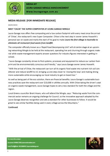 Leura Garage Mingle Media Kitpg1