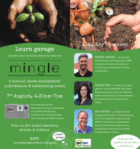 leura garage Mingle invite flyer zoe wood creative PR Blue Mountains blue Mountains war on waste closed loop composter