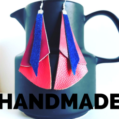 Zoe Jerrat upcycled handmade leather earrings.leather jewelry. Mtns Made. Handmade in the Blue Mountains